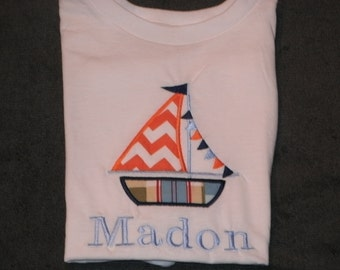 PERSONALIZED Sailboat Shirt or Bodysuit  MONOGRAMMED Tee personalized Applique