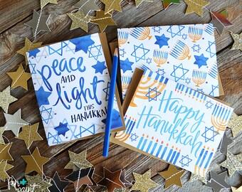 Four Note Cards, Peace and Light, Happy Hanukkah, Menorah, Festival of Lights, Happy Holidays, Greeting Card, Holiday Card, Hanukkah Card