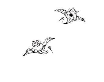 set of tiny Japanese crane unmounted rubber stamps, Asian, flying birds, Oriental, Sweet Grass Stamps #12