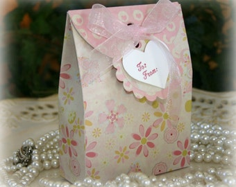 Birthday Party Gift Box Set with Matching Tag- FREE Shipping - Sweet Pink Birthday, Wedding or Party Gift Bag Wrap, by handmadewithlove13