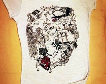 TO THE ISLAND - Cotton T-shrit - High quality print - an original gift for those who love fairy tales
