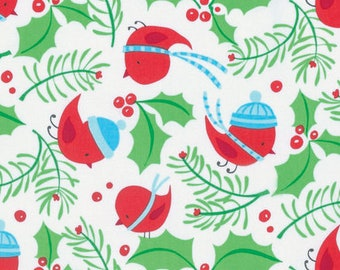 Free Spirit - Merry Xmas - Jolly Holly - Merry by David Walker - PWDW127.OMERR - 100% cotton fabric - Fabric by the yard(s)