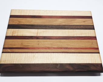 Hardwood Cutting Board Facegrain Maple Walnut Curly Maple African Mahogany Purple Heart Perdue Father's Day Anniversary Gift Mother's Day