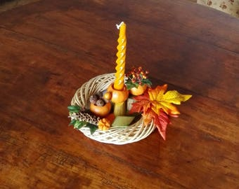 Table centerpiece with candle and dried tangerine, shaded fall leaves mantel decor, autumn colors candle holder, country house hostess gift