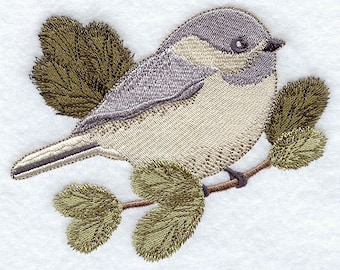 Cherry Chickadee Embroidered Flour Sack Hand/Dish Towel