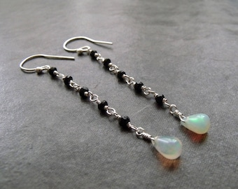 Ethiopian Opal Pear Drop and Micro Faceted Black Spinel Long Dangle Drop Sterling Silver Earrings