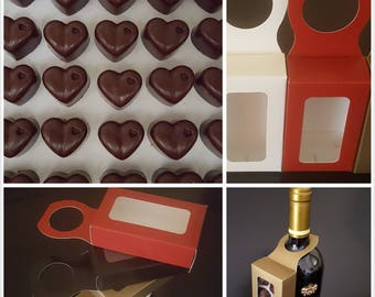 6 Boxes of Bottle Favor Hangers. Unique addition to bottles of wine for corporate gift giving. Chocolate Wedding Favors. Chocolate Caramels
