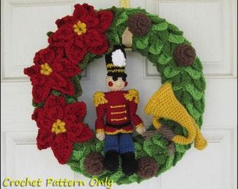 Nutcracker Toy Soldier Christmas Wreath - CROCHET PATTERN