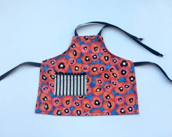 Doll 100% cotton handmade poppy apron