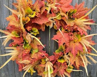 Fall Wreath, Fall Wheat Wreath, Fall Leaf Wreath, Fall Berry Wreath, Door Wreath for Fall