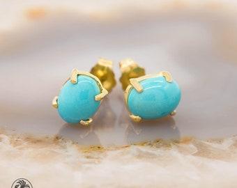 For SallyThames46 |Turquoise Earrings, Cabochon Turquoise Stud Earrings, 14 Karat Yellow Gold Turquoise Earrings, December Birthstone