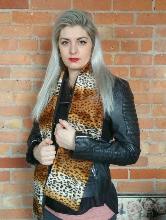 Faux fur, faux leopard print scarf. Rockabilly cheetah print scarf. Faux fur scarf faux fur shawl faux fur wrap