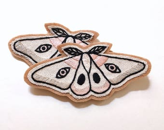 Hand Embroidered Patch, Light Moth. Canvas & Felt Patch, Sew on Patch. Hand Stitched Gift Idea for Her. Single (1) Patch. Made to Order~ 4""