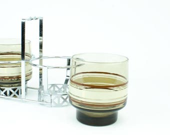 Libbey Drink Caddy, Vintage Libbey Glasses and Caddy, Libbey Drinkware, Retro Libbey Drinkware