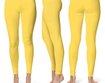 Mustard Yellow Leggings, Mid Rise Waist Leggings for Women, Stretchy Yoga Pants