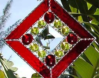 Stained Glass Sun Catcher, Red Stained Glass Suncatcher, Glass Nuggets and Center Bevel.  Christmas Gift, Glass Suncatchers, 9705-RD
