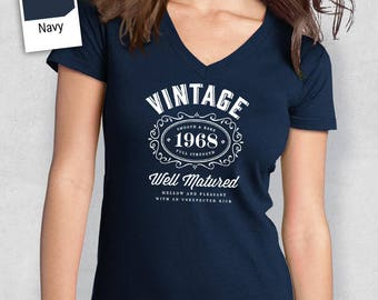 50th Birthday, 1968 Birthday, Women's V-Neck, 50th Birthday Idea, 50th Birthday Present, or Birthday Gift, For The Lucky 50 Year Old!