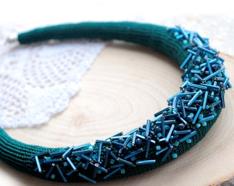 Blue necklace Chrochet necklace Evening necklace Festive necklace Bead embroidery necklace  Statement necklace Bib necklace Emerald necklace