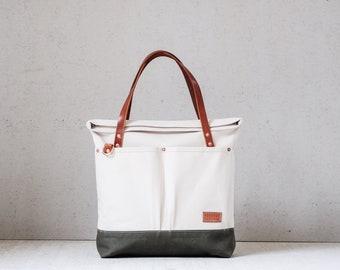 Tote bag T111/ leather handles / roll top bag, shopper bag, everyday bag, handmade