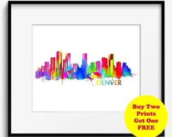 Denver Skyline Watercolor Art Print (017) Cityscape