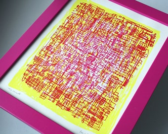 PINK LEMONADE | abstract line art | bright cmyk colors | limited edition screenprint | by Kathryn DiLego