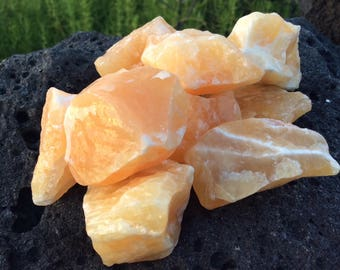 Orange Calcite Raw Medium Chunks