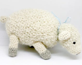 Crochet little sheep with blue bow