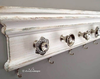 "Modern Farmhouse Decor, 22"" Jewelry Storage Wall, Rustic Organizer, Hang Necklace, Knob Hook Hanger, Mother's Day Gift"