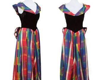 ON SALE 1940s Dress // Rainbow Plaid Taffeta Full Length Evening Gown With Black Velvet Bustle