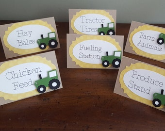 tractor party food tent cards * tractor party * tractor birthday party *  food signs * tractor baby shower * tractor party place cards