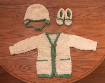 Crochet Baby Sweater, Hat & Booties, Handmade, Made to Order, Baby Girl or Baby Boy, Toddler Sweater, Baby Shower Gift