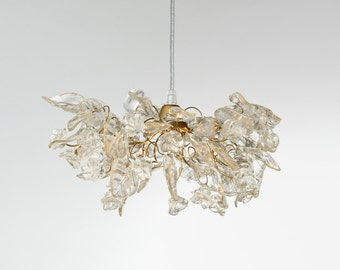 Transparent Clear hanging Chandelier flowers and leaves for bedside or hallway, elegant pendant light