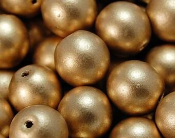 10mm Czech Glass Satin Gold Druk Beads- 20 Czech Beads