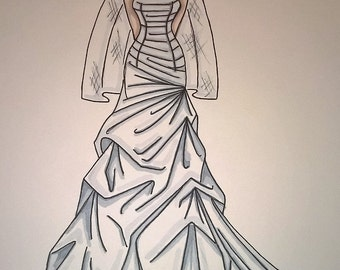 custom wedding gown illustration