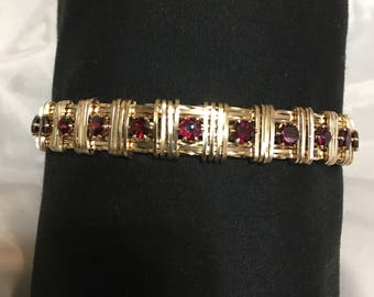 Faceted Red Garnets and 14 Kt Gold Filled Bracelet - Custom Handmade for you