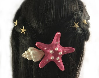 Pink Seashell Starfish Hair Barrette