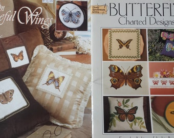 Butterflies Counted Cross Stitch Booklets, Set of 3
