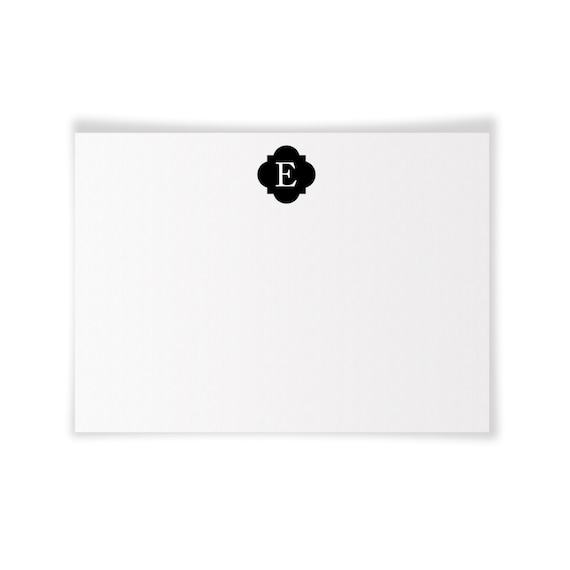 E Monogrammed Printable Notecard