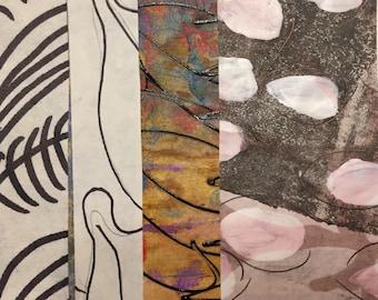 Delta - Collage Original dessiné et peint à la main avec des papiers de 4 x 4 sur 5 x 5» support