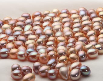 8.5-9.5mm Metallic color Teardrop/oval Fresh Water Cultured Pearl No Hole,100% Natural Pearl