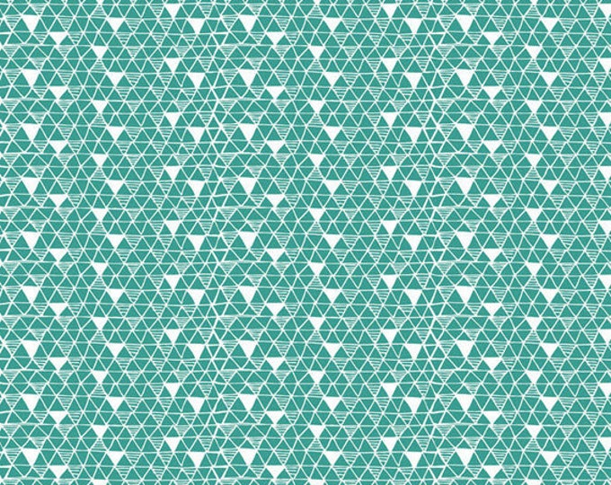 PANDA-RAMA - Rice Paper in Blue - Triangle Geometric Cotton Quilt Fabric - by Maude Asbury for Blend Fabrics - 101.129.03.1 (W4284)