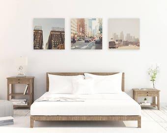 downtown Los Angeles photographs, LA gift, set of 3 prints, urban city, LA photography, neutral, loft decor, office wall art, for him, gray