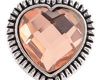 1 PC - 18MM Peach Heart Rhinestone Silver Tone Charm for Candy Snap Jewelry KC6037 Cc2418