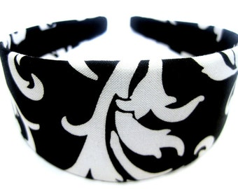 Black White Floral Headband 2 Inch