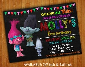 Trolls Invitations/ Trolls Birthday Party Invitation/ Trolls Digital File/ Trolls Printable/ Trolls