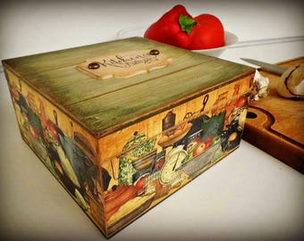 Decorative kitchen storage box, decoupage kitchen box, wooden box, decoupage box, kitchen decorative box,  kitchen box,  kitchen table decor
