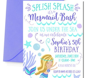 Mermaid Invitation, Mermaid Birthday Party Invitation, Mermaid Party, Mermaid Birthday Invitation, Blonde Mermaid, Purple, Printable