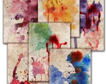 Digital papers. BACKGROUNDS, paint splash texture pack,  Decoupage, watercolor   6  scrapbooking ,  Digital Collage Sheets Tp32