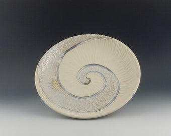 White Carved Spiral Plate