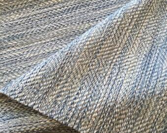 Handwoven Runner Rug Wool and Hemp,  Blue Naturals Wool Hemp Runners Hand Woven 3 Lengths